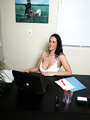 Intelligent but very sexy brunette milf Carmella Bing mads her co-worker with her giant breast