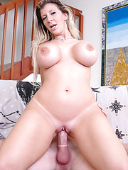 Horny milf with huge tits Sara Jay takes dick in her mouth and shaved pussy