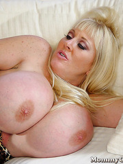 Fantastic mature blonde Kayla Kleevage with dangerously huge tits in the hardcore action