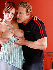 Big titted redhead milf Bailey Odare shows her titjob, blowjob and riding skills