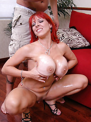 Redhead milf with giant tits Whitney Wonders got a big powerful cock today