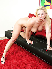 Great blonde milf with excellent big breast and fuckable ass Devon Lee poses naked