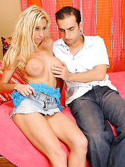 Fascinating blonde hottie Regan Anthony with sweet tits goes wild with a big cock