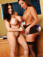 Ultra-busty lesbians Daphne Rosen and Richelle Ryan licking their gentle pussies