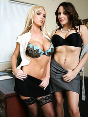 Gorgeous offices lesbians Kinzie Kenner and Nikki Benz peeling off their lingerie