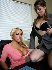 Two appetizing lesbians Savanah Gold and Sunny Lane and their big tits