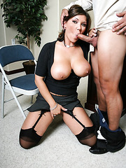 Mature brunette lady Claire Dames gets fucked hard right on her work table