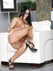 Fascinating brunette mistress Mikayla amazes with her shaved pussy and large breast