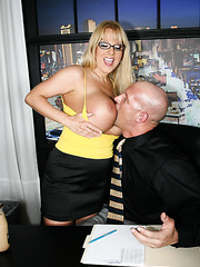 Extremely big boobs by hot mature blonde named Harmony Bliss meet big cock
