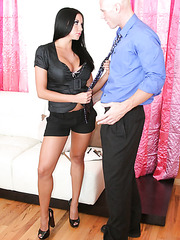 Fantastic brunette cougar Audrey Bitoni in the voluptuous fuck with bald man