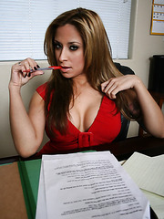 Nasty business woman August spreads her gentle legs and masturbates