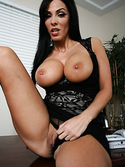 Dangerous brunette Veronica Rayne shows you her shaved pussy and delicious tits