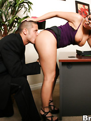 Horny brunette secretary Eva Angelina spreads her legs for an awesome fuck