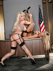 Brooke Belle and Candy Manson show their sexy pussies and big bobos