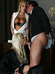 Awesome threesome fuck with a hot bitch Brooke Belle and Candy Manson