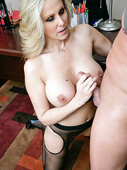 Busty blonde girl Julia Ann gives an incredible blowjob to her new crazy fucker