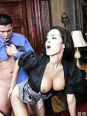 Young and pretty brunette Daisy Marie feels a strong dick in the tight pussy