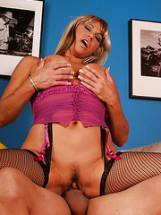 Fabulous mommy Kat Kleevage gets a tasty cock in the sweet mouth