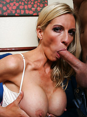 Awesome blonde milf Emma Starr spreads her legs and gets a tasty dick