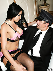 Pretty and hot brunette babe Audrey Bitoni gets a sperm on the sweet lips