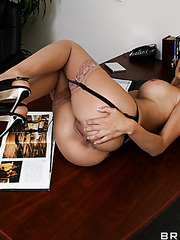 Sexy business woman Shy Love takes off her hot panties and masturbates