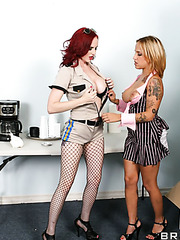 Hardcore threesome with naughty lesbian angels named Mz Berlin and Regan Reese