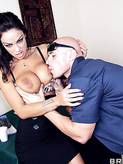 Awesome fuck with a passionate brunette slut Angelina Valentine in the office