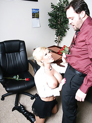 Diamond Foxxx sucks her boss's dick and gets it in the tight pussy