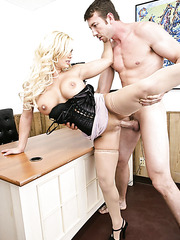 Blonde babe Shyla Stylez takes a tasty cocka and sucks it like a crazy whore