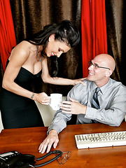 Naughty brunette Jessica Jaymes gives an awesome blowjob to her new boss
