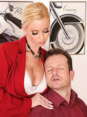 Elegant and gorgeous blonde milf Cindy Dollar gets fucked and facialized by boss
