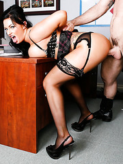 Unforgettable brunette milf Kerry Louise got her colleague's dick in the office