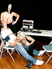 Wild threesome action with two horny and buxom milfs Carmella Bing and Holly Halston