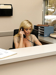 Busty mature blonde secretary Holly Sampson enjoys hot fucking with her chief's son