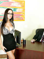 Incredibly hot mistress in sexy glasses Angelina Valentine can seduce everyone