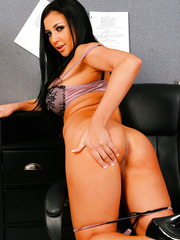 Mesmerizingly hot black hair, perfect big tits and hot shaved pussy by Audrey Bitoni