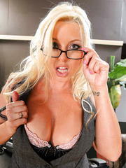 Wavy haired blonde goddess Brittney Skye demonstrates her powerful plump forms