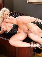 Gorgeous blonde milf Brittney Skye makes boss wild with her tempting big boobs