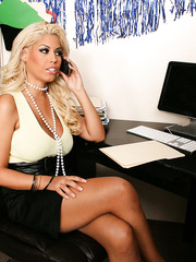 Gorgeous business lady with big boobs Bridgette B invited her co-worker for a secret meeting
