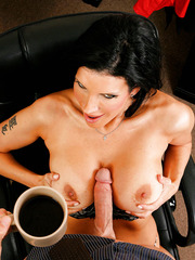 Model-quality brunette milf with perfect face and sexy big tits Shay Sights got huge cock