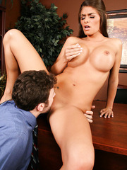 Fantastic milf Madelyn Marie knows how to seduce young boss using her great big tits