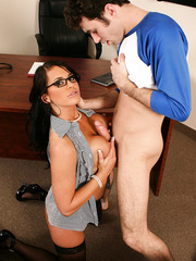 Buxom black haired milf in sexy glasses Savannah Stern sucks and gets in her beautiful pussy