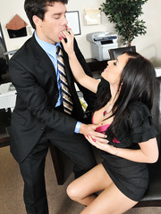 Great babe Eva Angelina sucks and plunges big cock in her shaved pussy