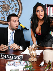 Stunning brunette Jenaveve Jolie seduces manager of a big company with her big boobs