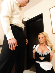 Delightful blonde with big tits Nikki Benz prepared delicious things for her lover