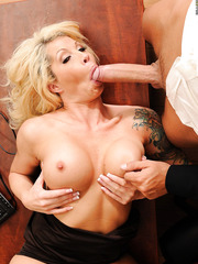 Horny mature lady Brooke Haven rides tongue and big cock like a hungry slut