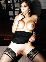 Black haired slutty milf Alexis Breeze tastes big cock with her mouth and shaved pussy