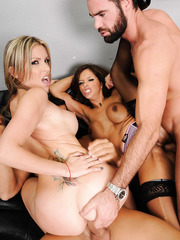 Blonde Courtney Cummz and brunette Francesca Le meet two guys in the group sex scene