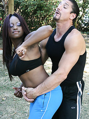 Chocolate skinned milf Jada Fire with huge tits and big nipples in the interracial fucking action