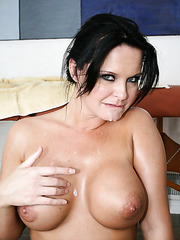 Black-haired and green-eyes buxom milf Maya Devine takes in mouth and tight pussy